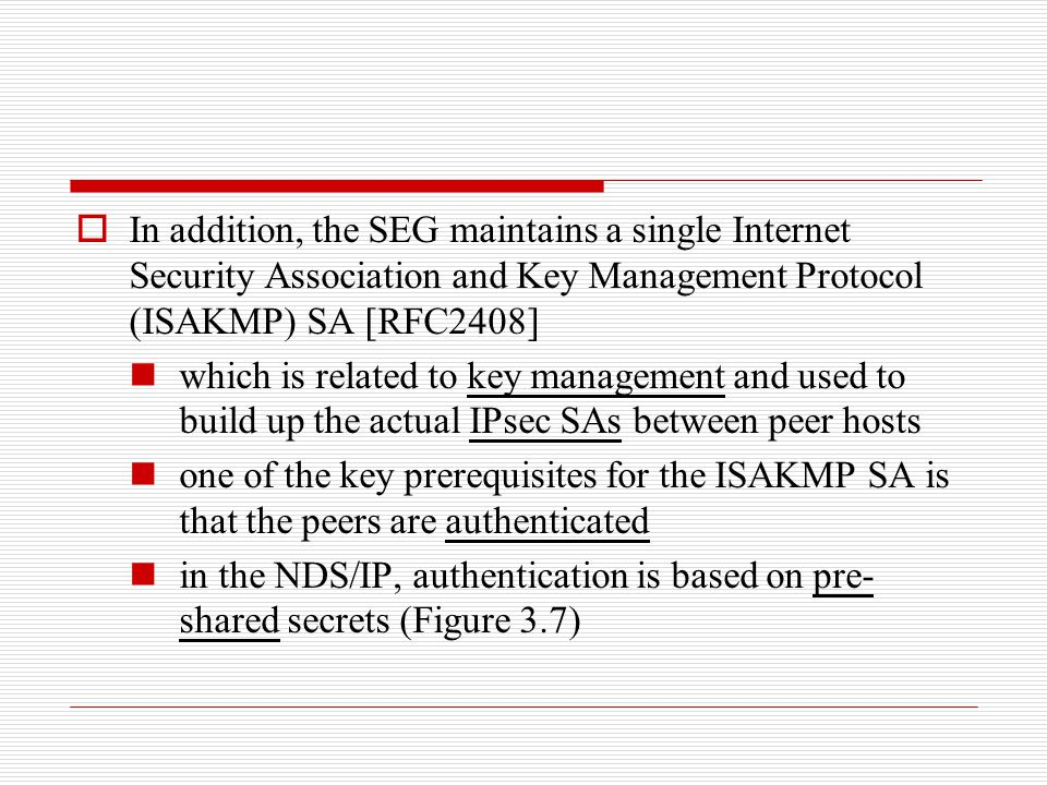 In addition, the SEG maintains a single Internet Security Association and Key Management Protocol (ISAKMP) SA [RFC2408]